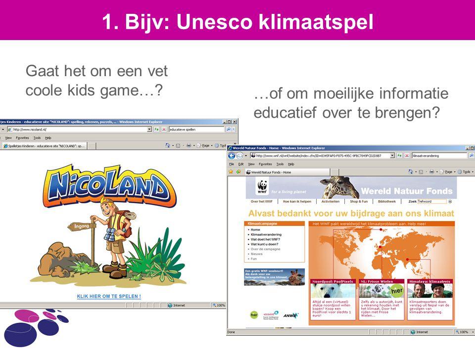 1. Bijv: Unesco klimaatspel