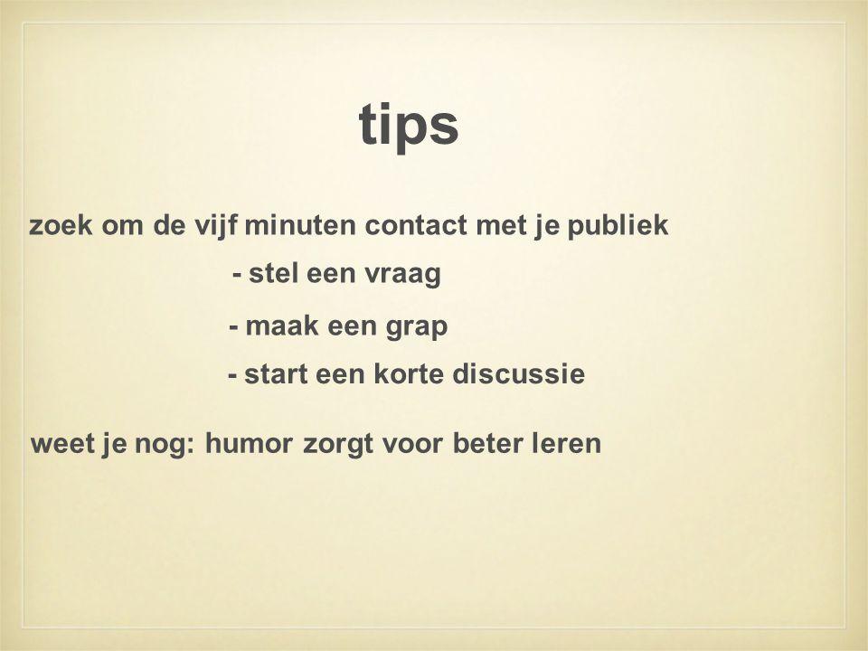 tips zoek om de vijf minuten contact met je publiek - stel een vraag