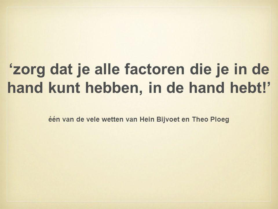 één van de vele wetten van Hein Bijvoet en Theo Ploeg