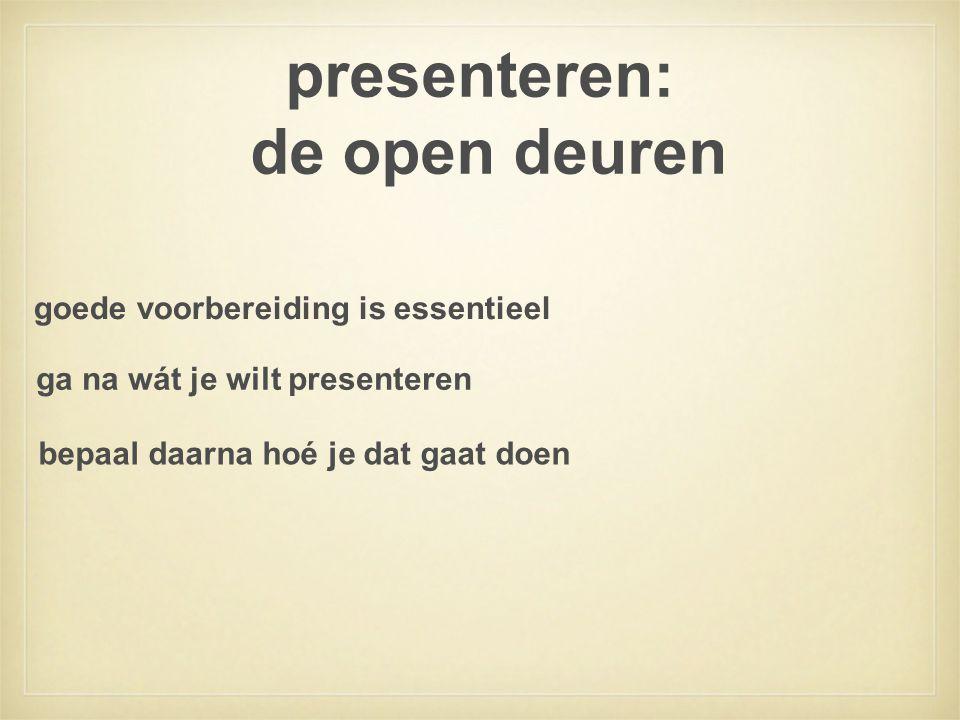 presenteren: de open deuren