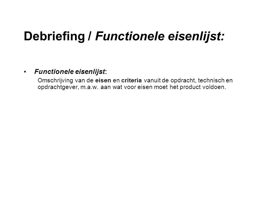 Debriefing / Functionele eisenlijst: