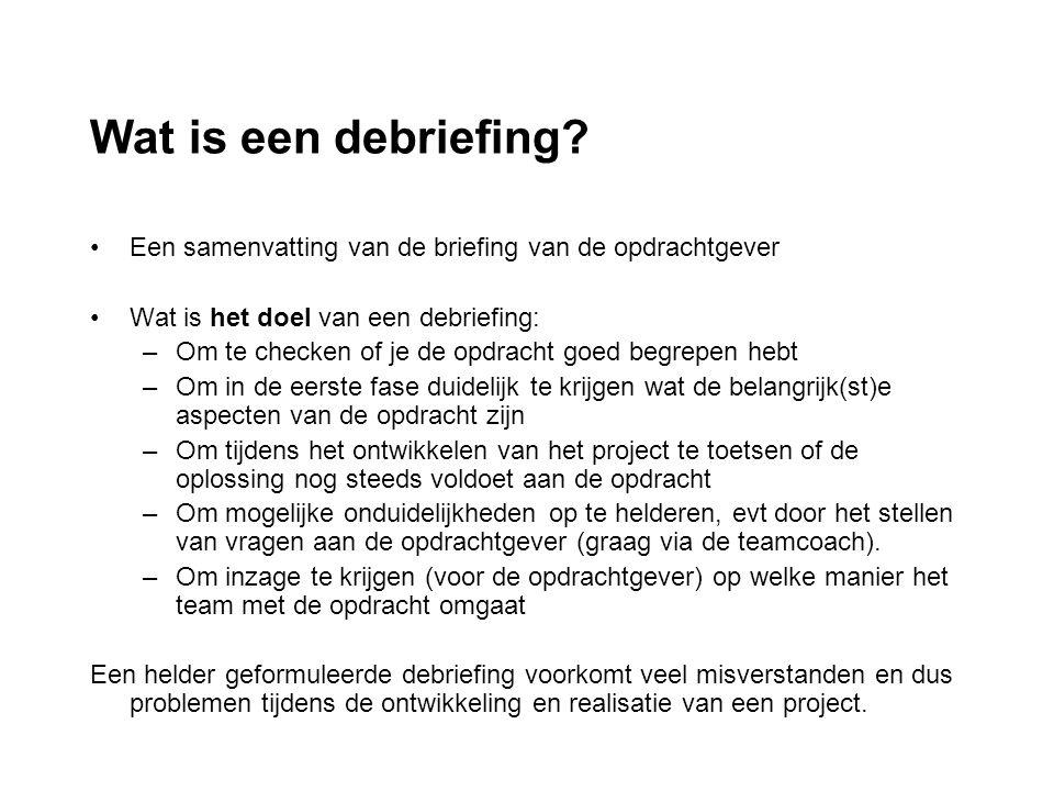 Wat is een debriefing Een samenvatting van de briefing van de opdrachtgever. Wat is het doel van een debriefing: