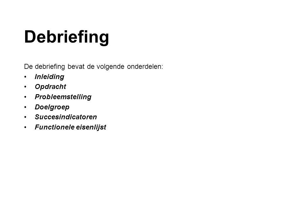 Debriefing De debriefing bevat de volgende onderdelen: Inleiding