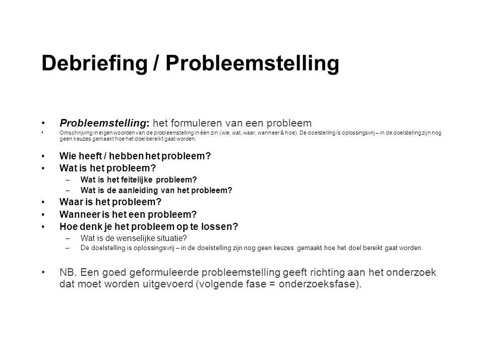 Debriefing / Probleemstelling