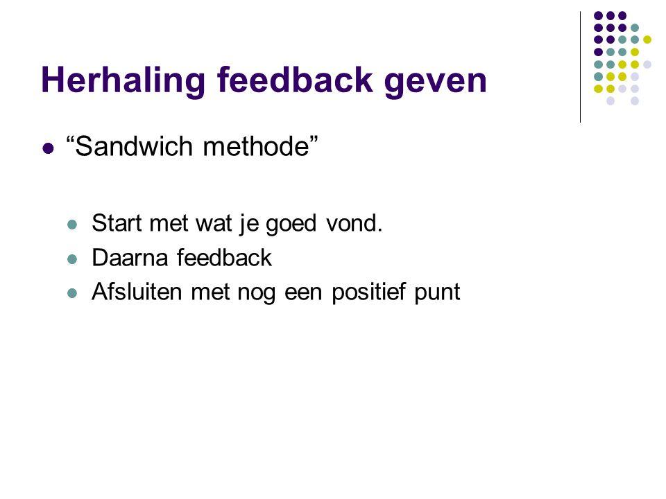 Herhaling feedback geven