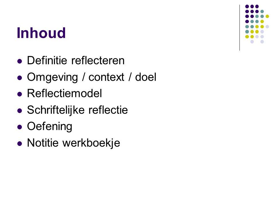 Inhoud Definitie reflecteren Omgeving / context / doel Reflectiemodel