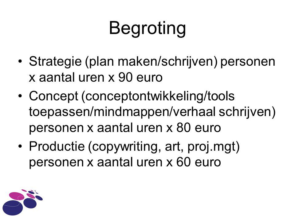 Begroting Strategie (plan maken/schrijven) personen x aantal uren x 90 euro.