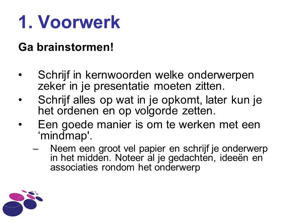 1. Voorwerk Ga brainstormen!