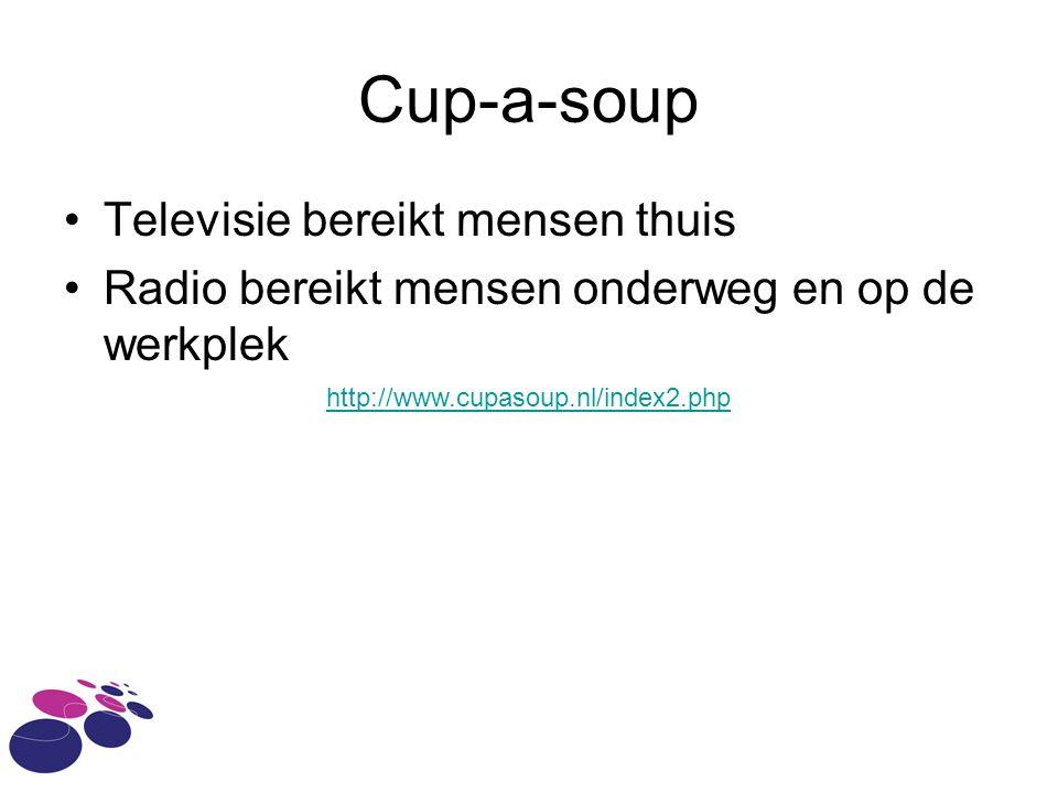 Cup-a-soup Televisie bereikt mensen thuis