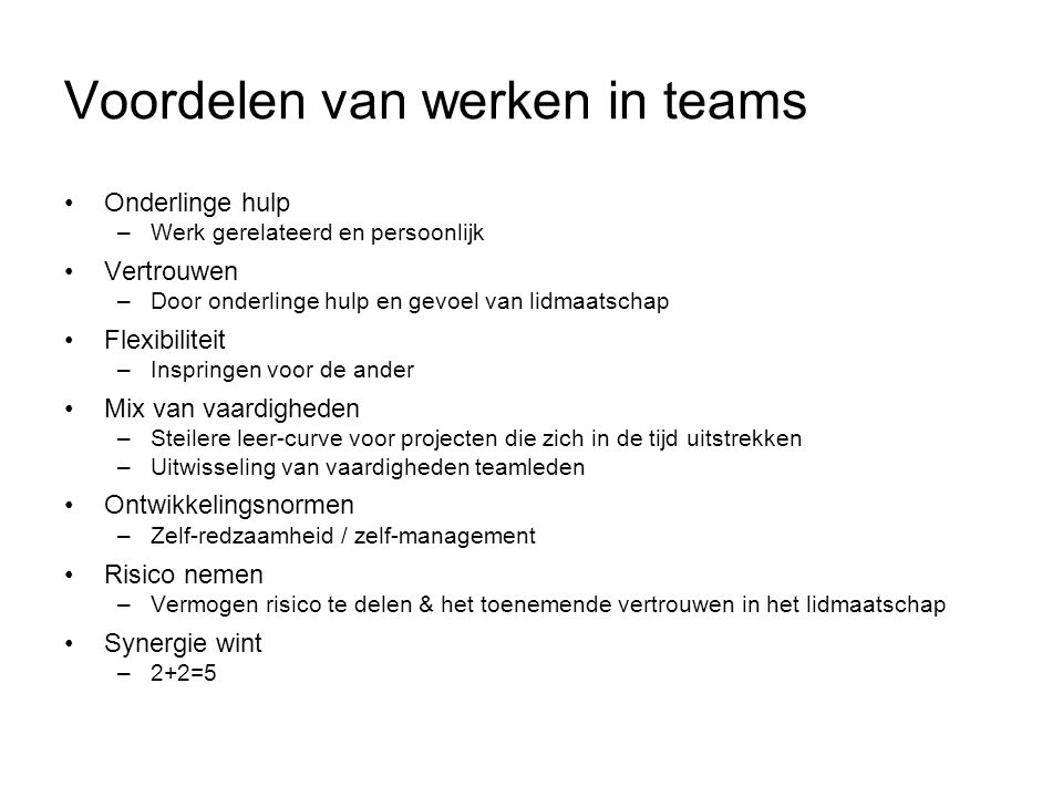 Voordelen van werken in teams