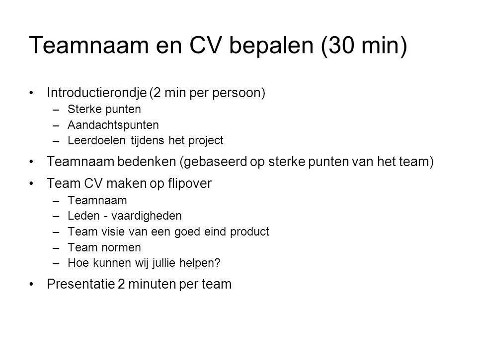 Teamnaam en CV bepalen (30 min)