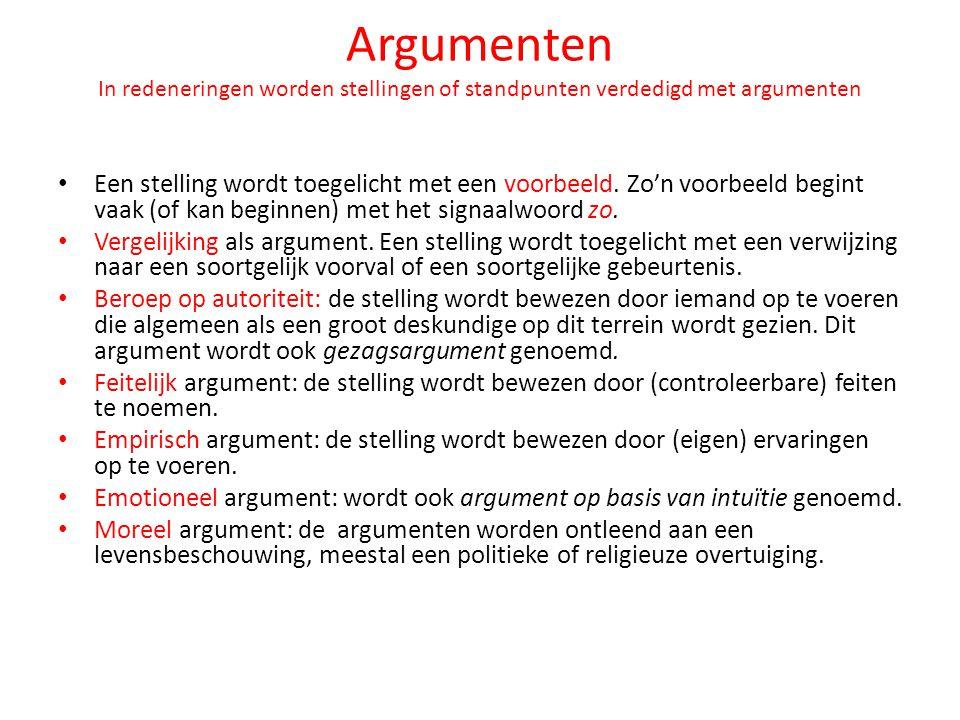 Argumenten In redeneringen worden stellingen of standpunten verdedigd met argumenten