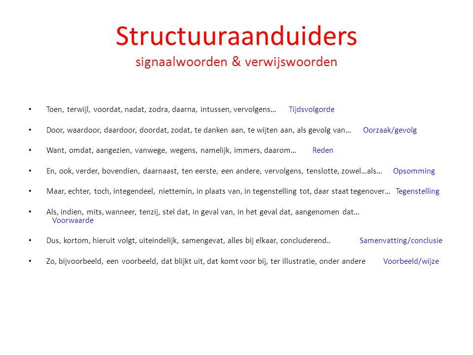 Structuuraanduiders signaalwoorden & verwijswoorden