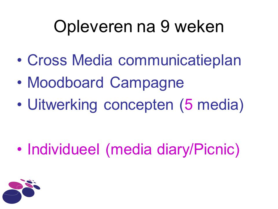 Opleveren na 9 weken Cross Media communicatieplan Moodboard Campagne