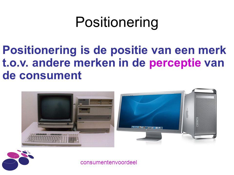 Positionering Positionering is de positie van een merk t.o.v. andere merken in de perceptie van de consument.