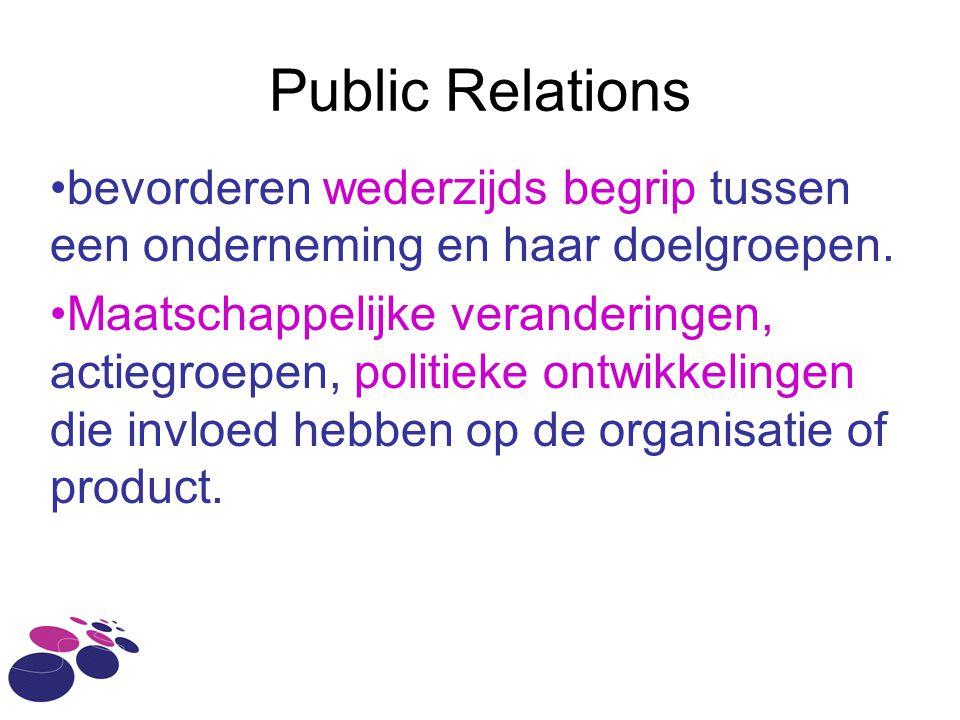 Public Relations bevorderen wederzijds begrip tussen een onderneming en haar doelgroepen.