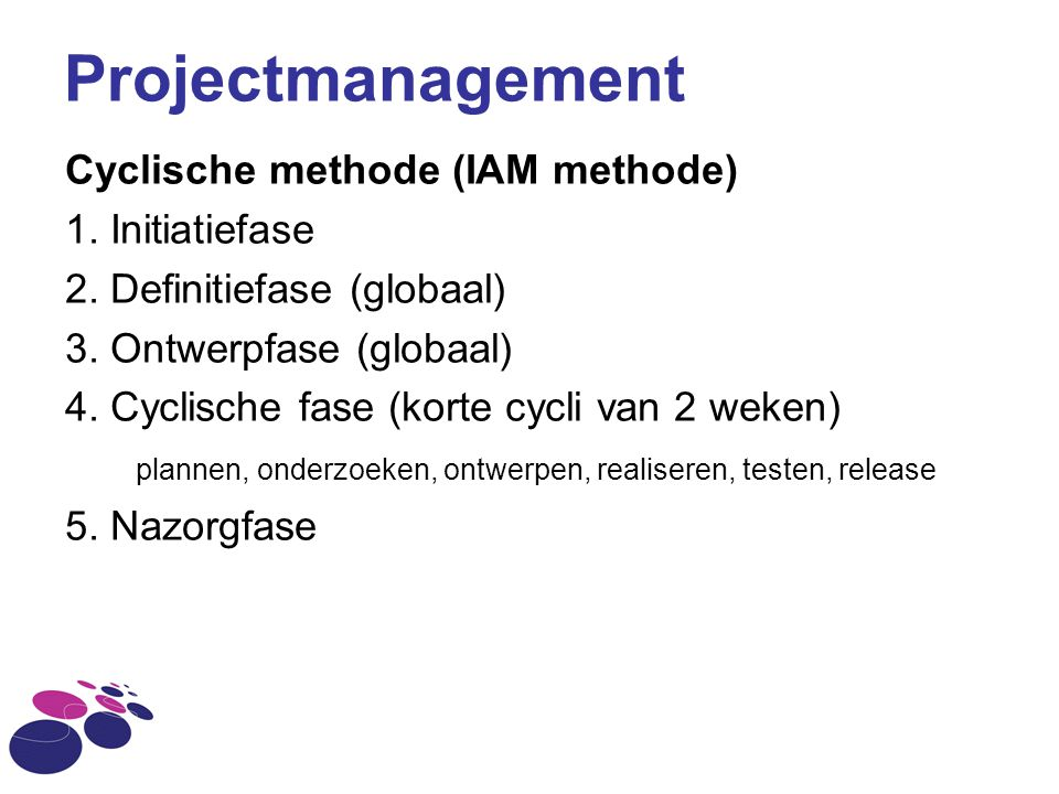 Projectmanagement Cyclische methode (IAM methode) 1. Initiatiefase