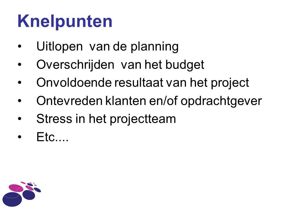 Knelpunten Uitlopen van de planning Overschrijden van het budget