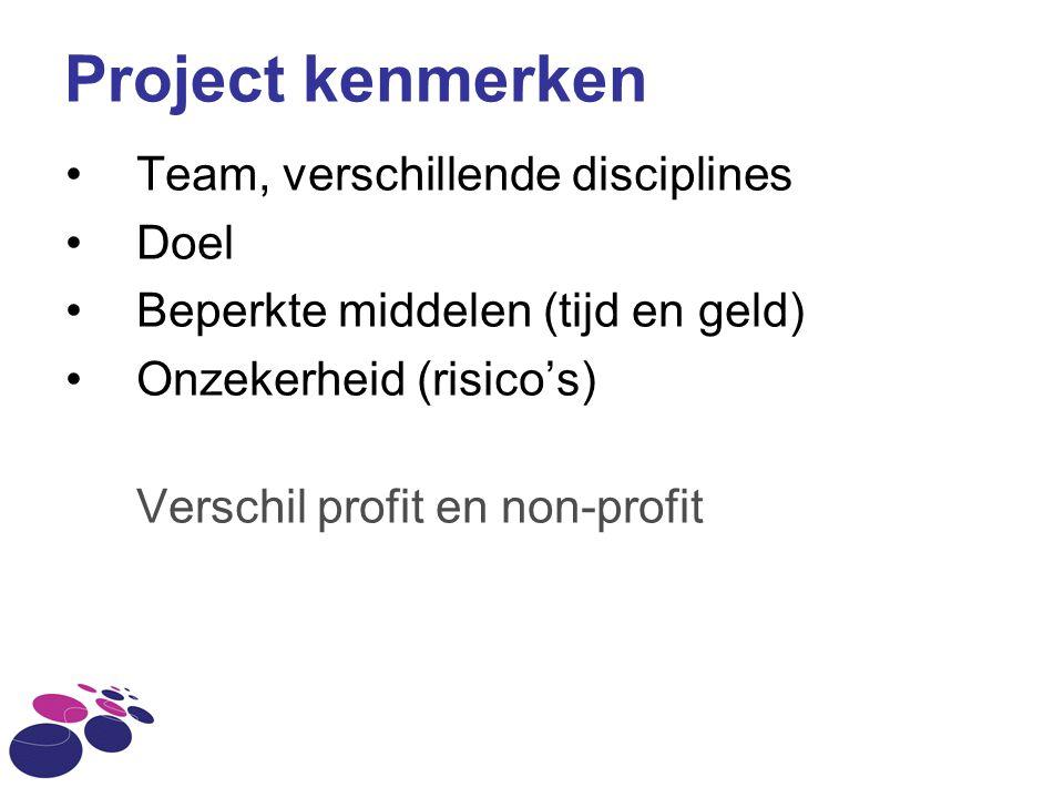 Project kenmerken Team, verschillende disciplines Doel