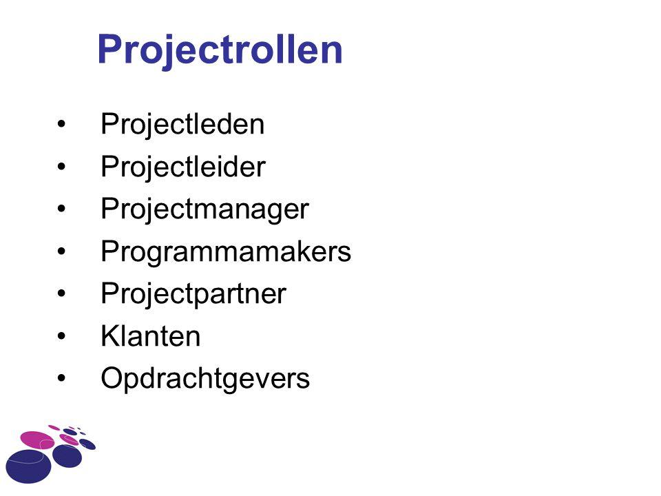Projectrollen Projectleden Projectleider Projectmanager