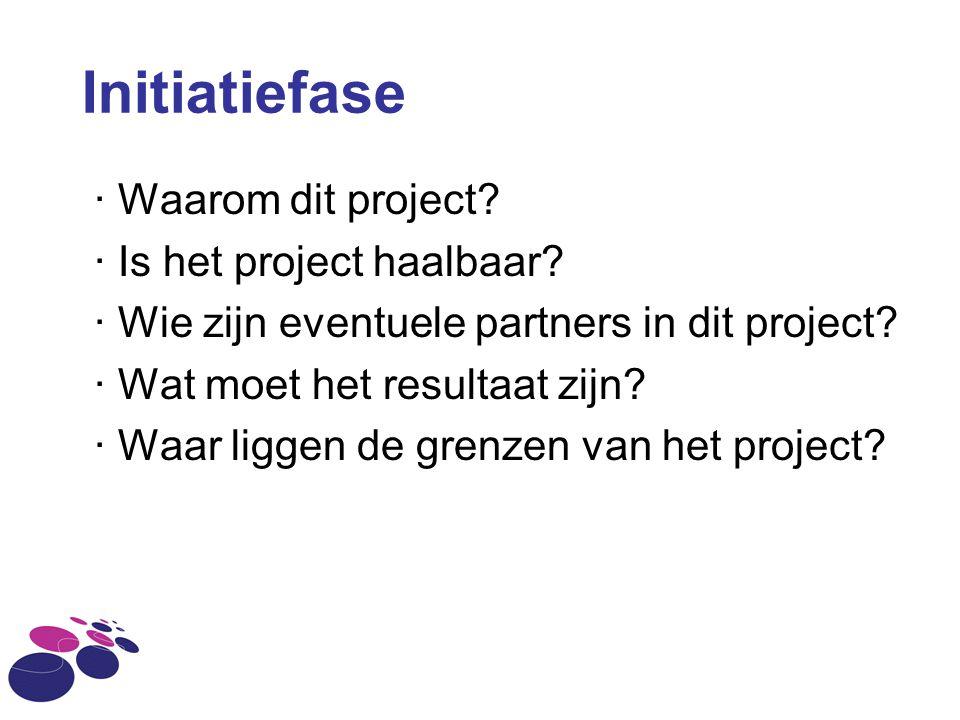 Initiatiefase · Waarom dit project · Is het project haalbaar