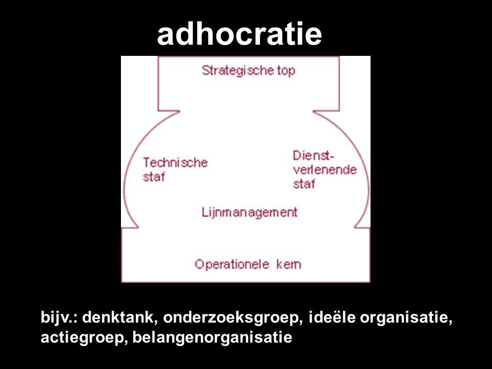 adhocratie bijv.: denktank, onderzoeksgroep, ideële organisatie, actiegroep, belangenorganisatie