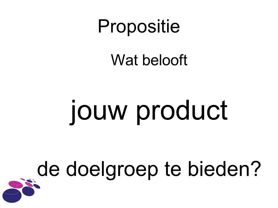 Propositie Wat belooft jouw product de doelgroep te bieden