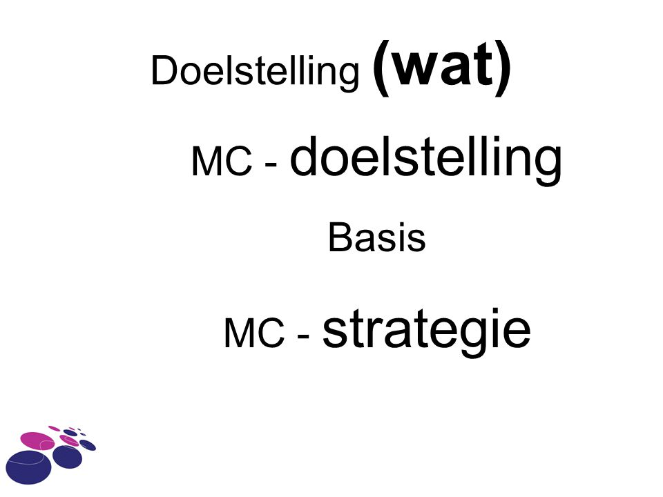 Doelstelling (wat) MC - doelstelling Basis MC - strategie