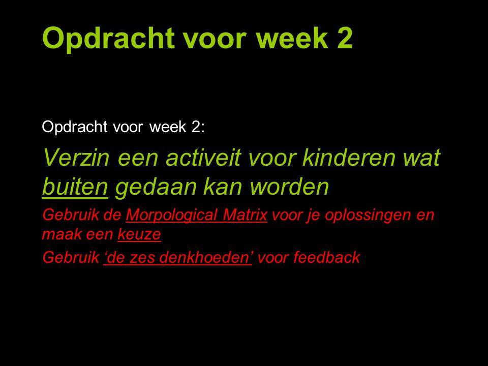 Opdracht voor week 2 Opdracht voor week 2: Verzin een activeit voor kinderen wat buiten gedaan kan worden.