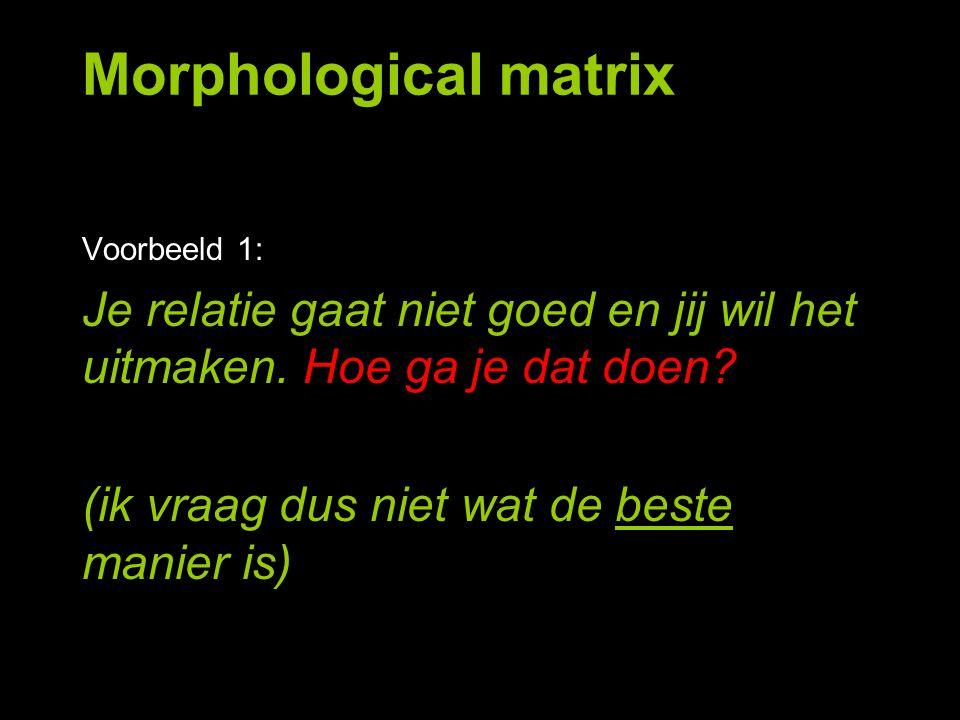 Morphological matrix Voorbeeld 1: Je relatie gaat niet goed en jij wil het uitmaken. Hoe ga je dat doen