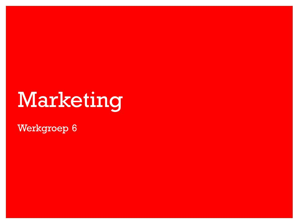 Marketing Werkgroep 6