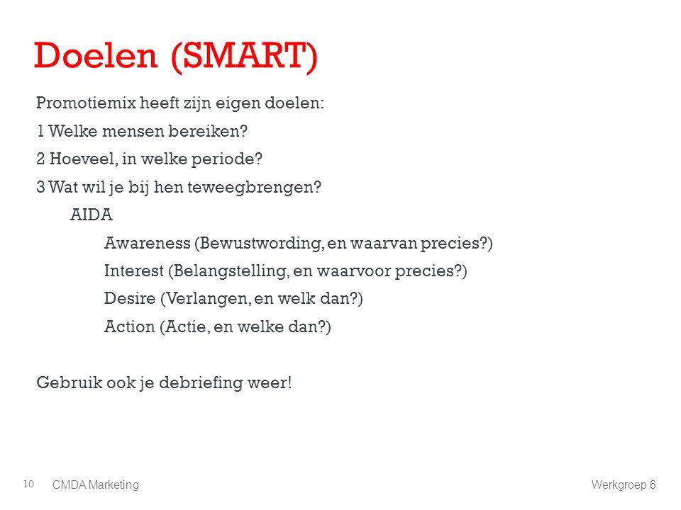 Doelen (SMART) Promotiemix heeft zijn eigen doelen: