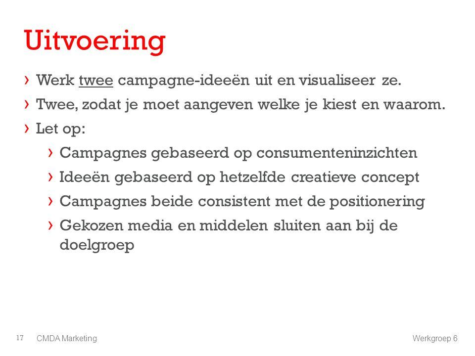 Uitvoering Werk twee campagne-ideeën uit en visualiseer ze.