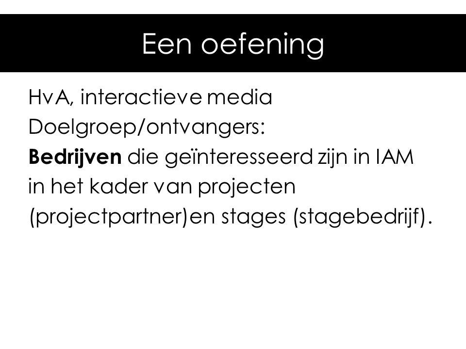 Een oefening HvA, interactieve media Doelgroep/ontvangers: