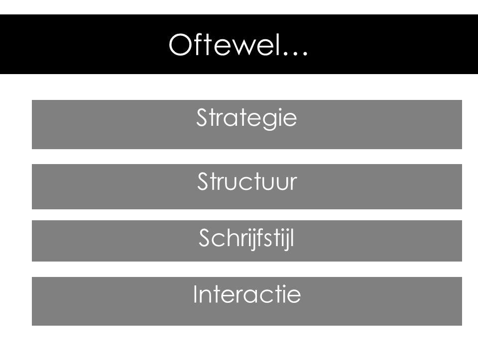 Oftewel… Strategie Structuur Schrijfstijl Interactie