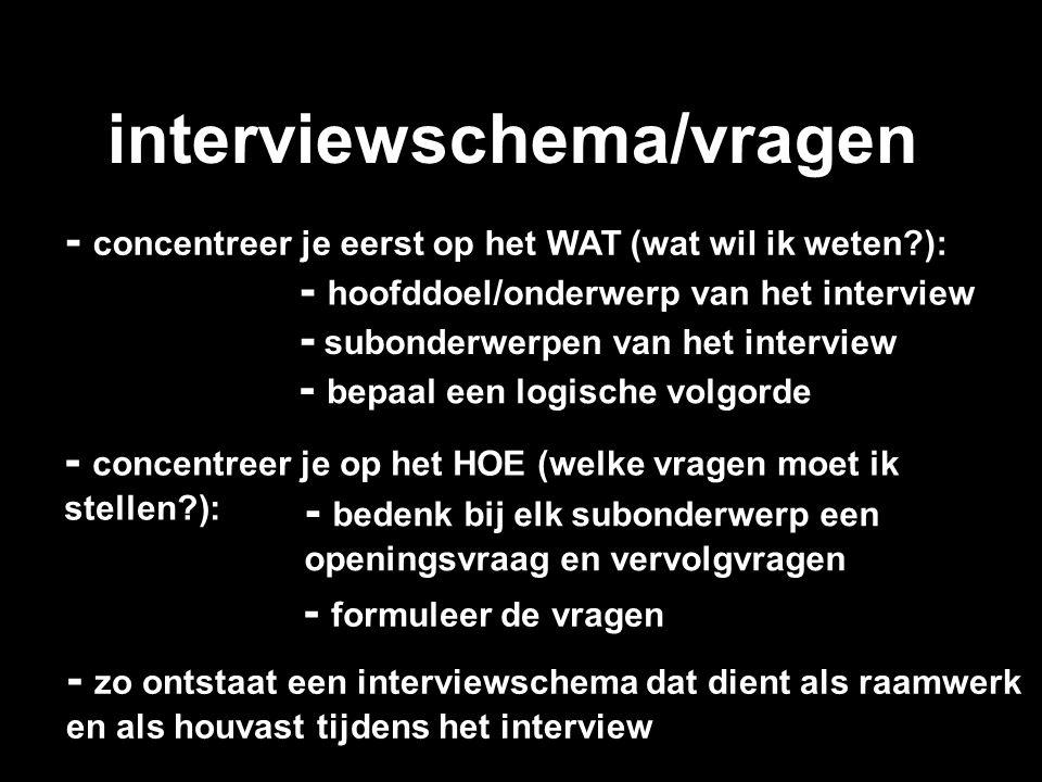 interviewschema/vragen