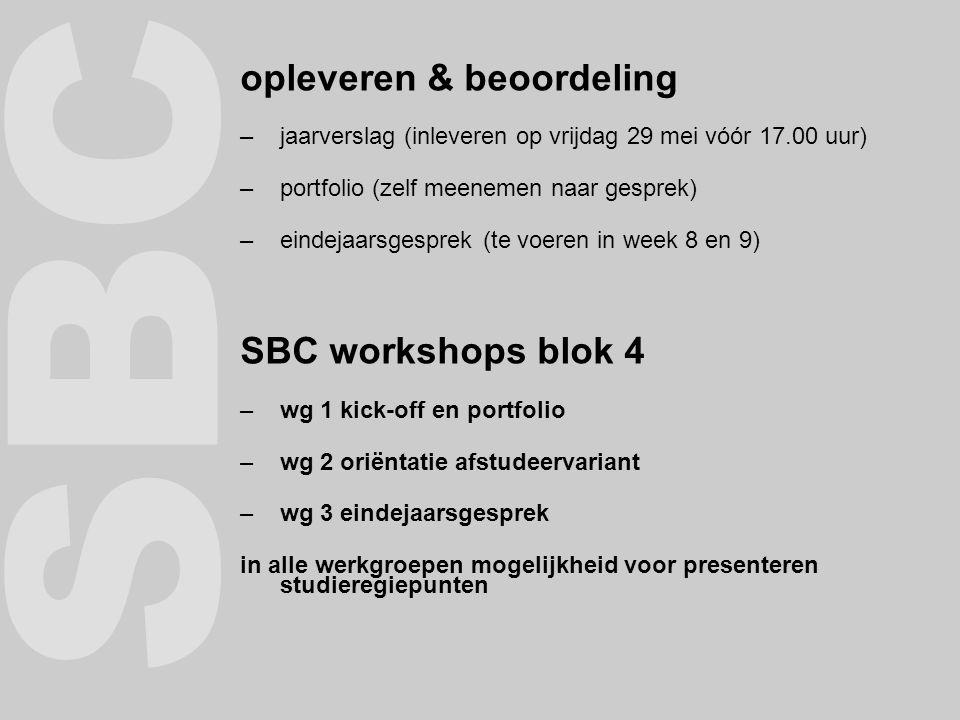 SBC opleveren & beoordeling SBC workshops blok 4