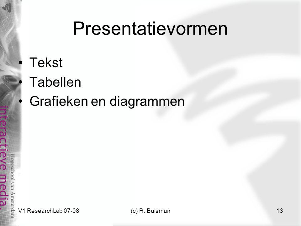 Presentatievormen Tekst Tabellen Grafieken en diagrammen