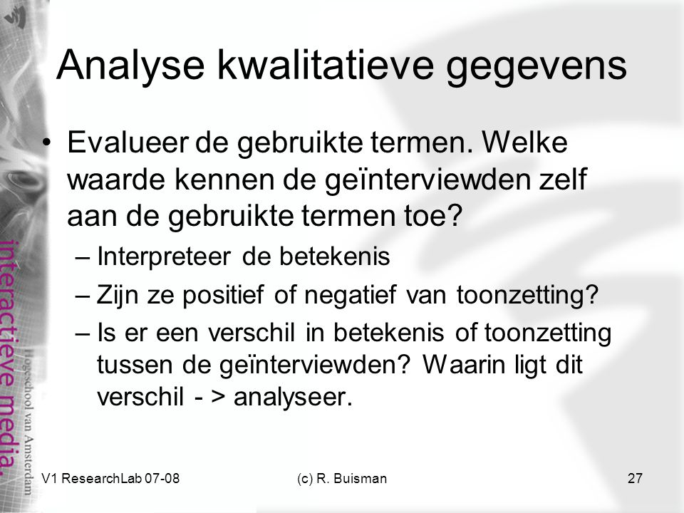 Analyse kwalitatieve gegevens