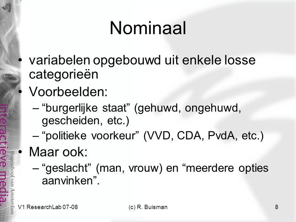 Nominaal variabelen opgebouwd uit enkele losse categorieën