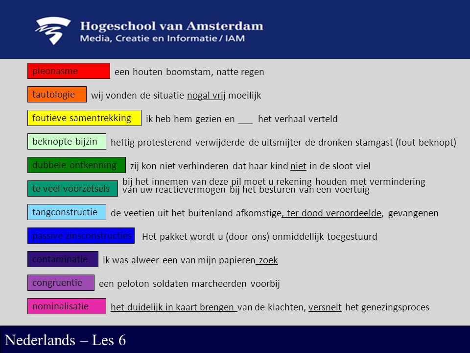 Nederlands – Les 6 pleonasme een houten boomstam, natte regen