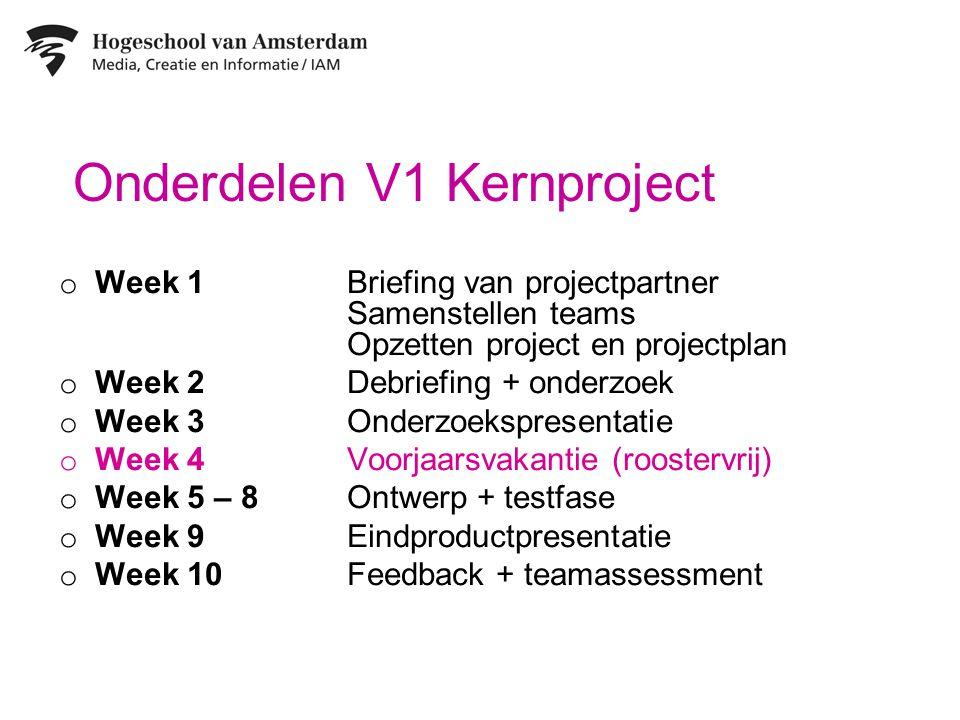 Onderdelen V1 Kernproject