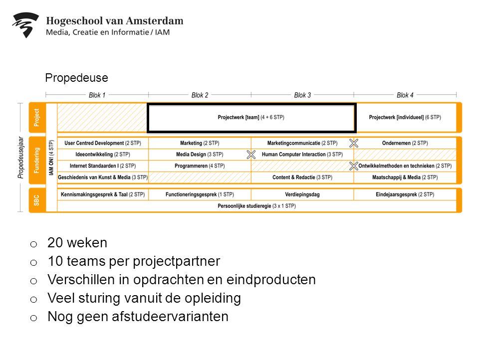 10 teams per projectpartner Verschillen in opdrachten en eindproducten