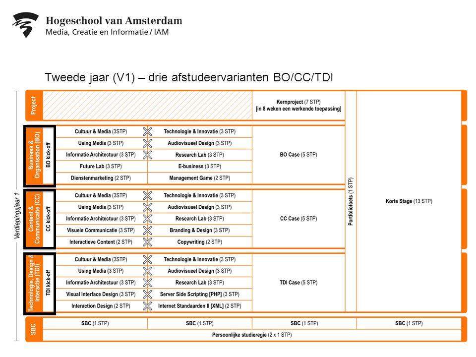 Tweede jaar (V1) – drie afstudeervarianten BO/CC/TDI