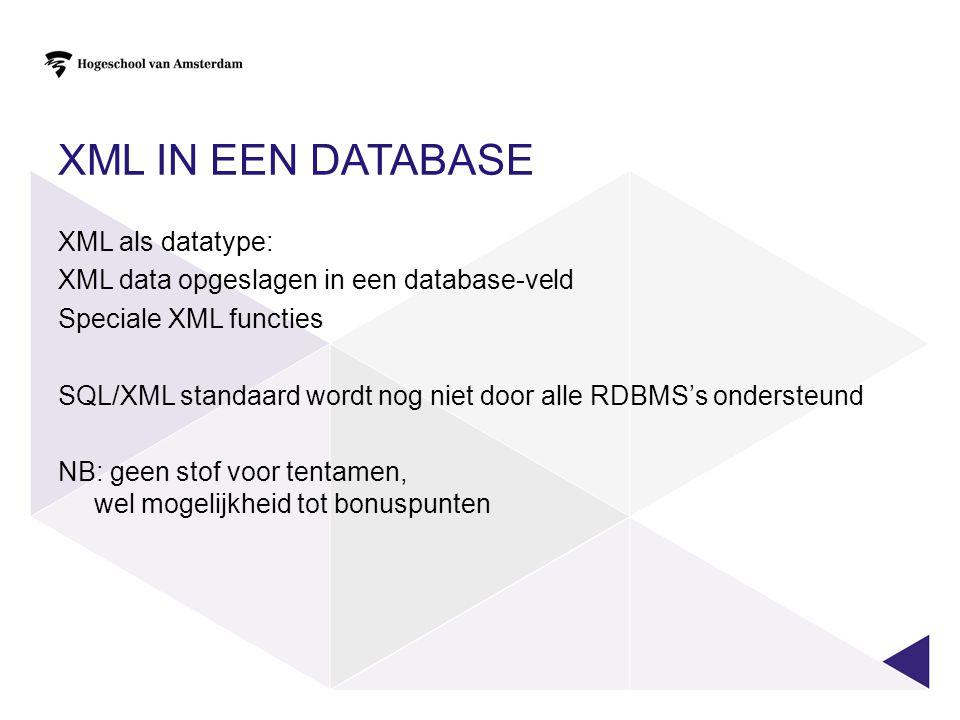 XML in een database