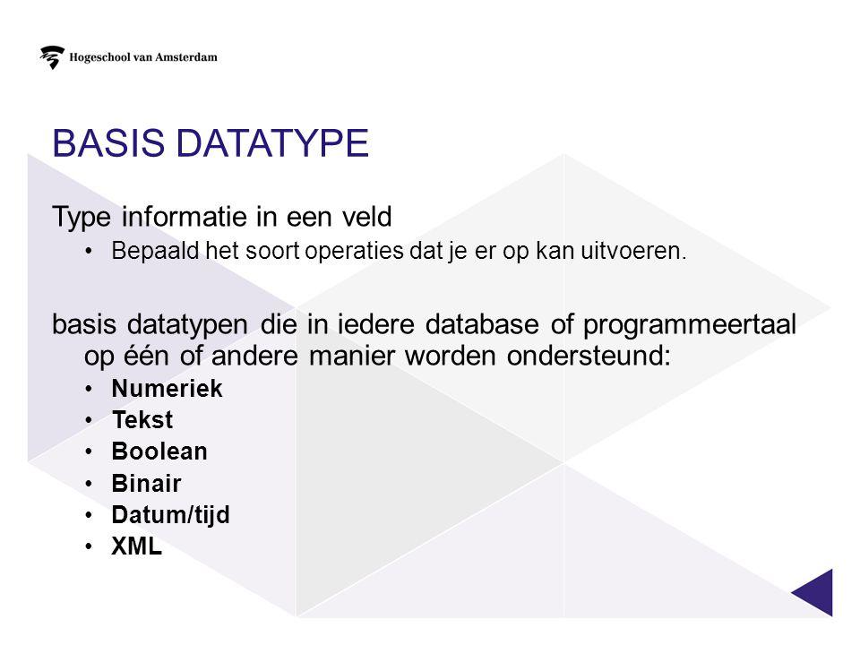 Basis datatype Type informatie in een veld