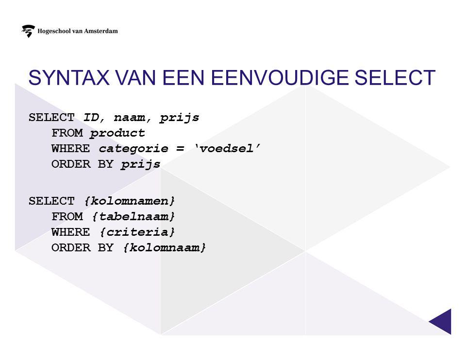 Syntax van een eenvoudige SELECT