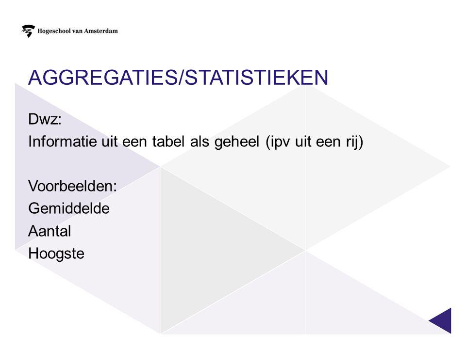 Aggregaties/statistieken