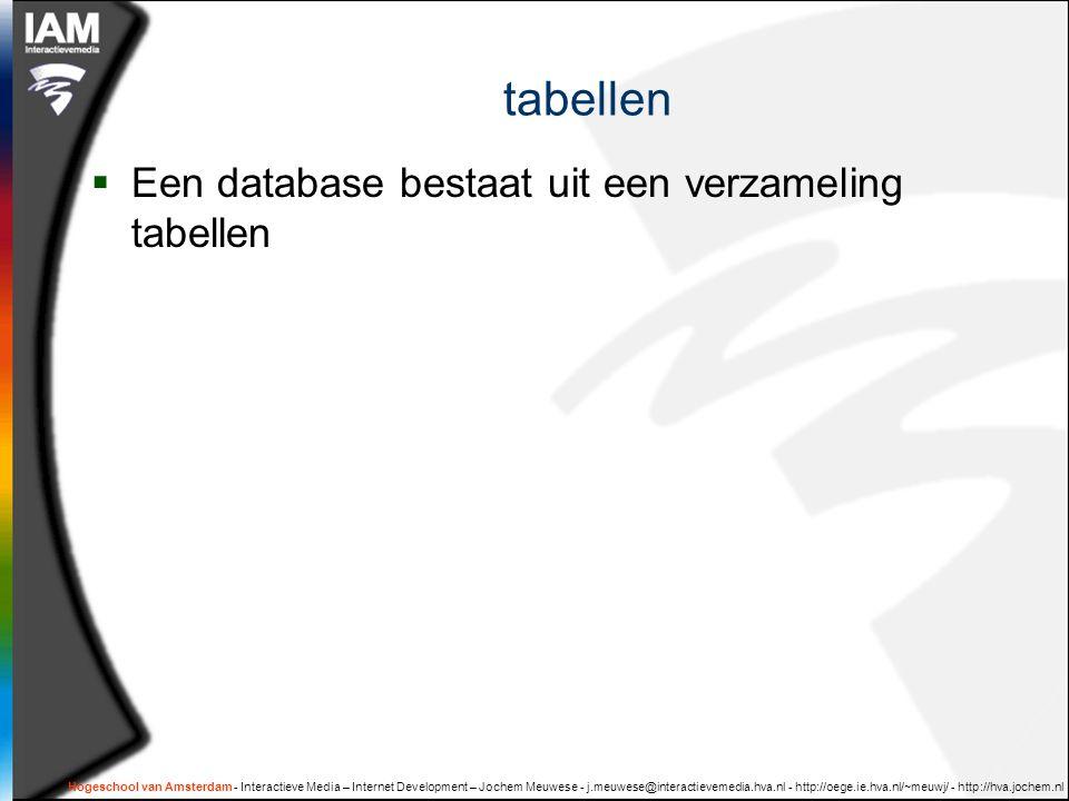 tabellen Een database bestaat uit een verzameling tabellen