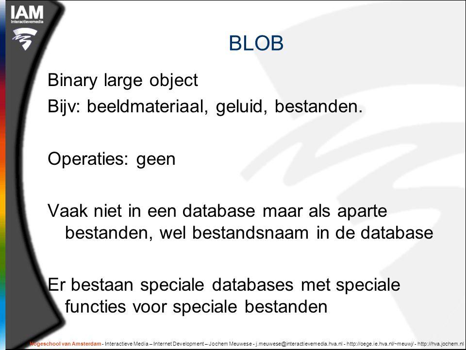 BLOB Binary large object Bijv: beeldmateriaal, geluid, bestanden.